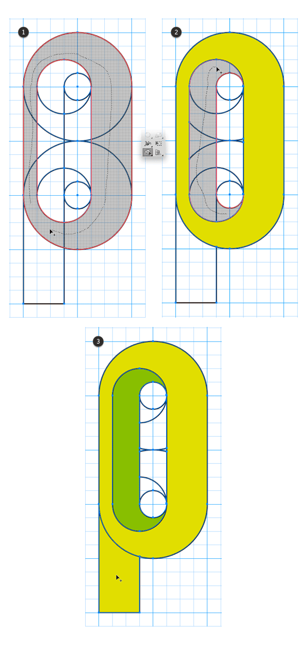 Add shapes with Shape Builder Tool to form the letter P