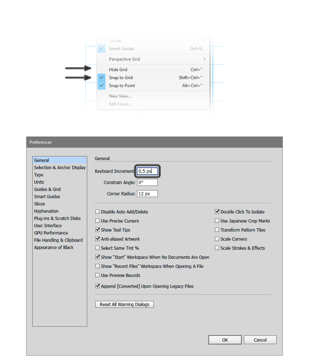 Setting a Keyboard Increment of 05 px in the Preferences and enable Grid and Snap to Grid