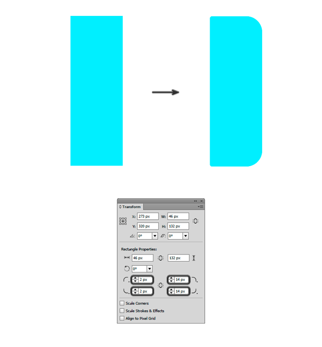 A 46 x 132 px rectangle with round corners in the Transform panel