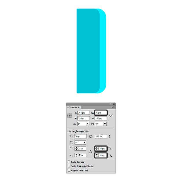Setting the Width to 36 px with Selection Tool