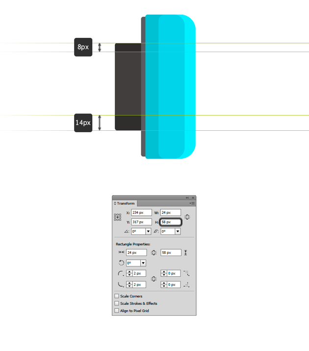 Duplicating the rectangle and changing its width from Transform panel