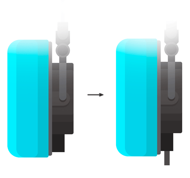 Drawing the cable entry in the right speaker for the plug cord