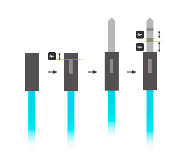 Drawing the jack connector using rectangles