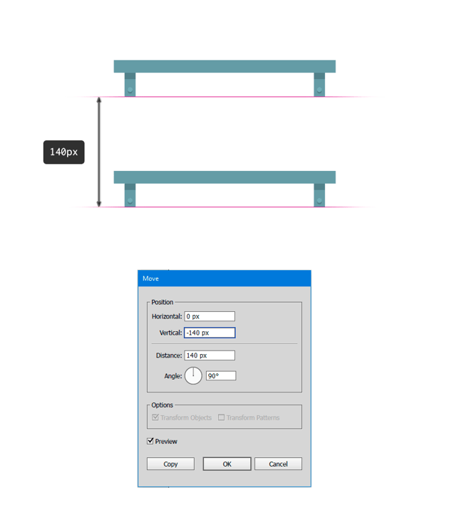 Add a distance of 140 px between the shelves
