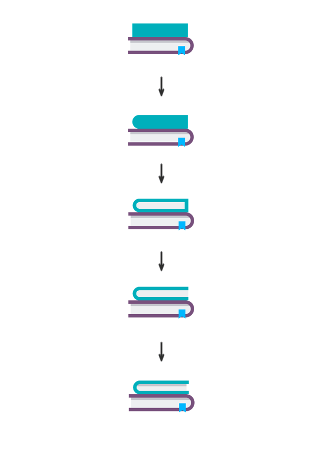 The second book with a rectangle and round the right-side corners