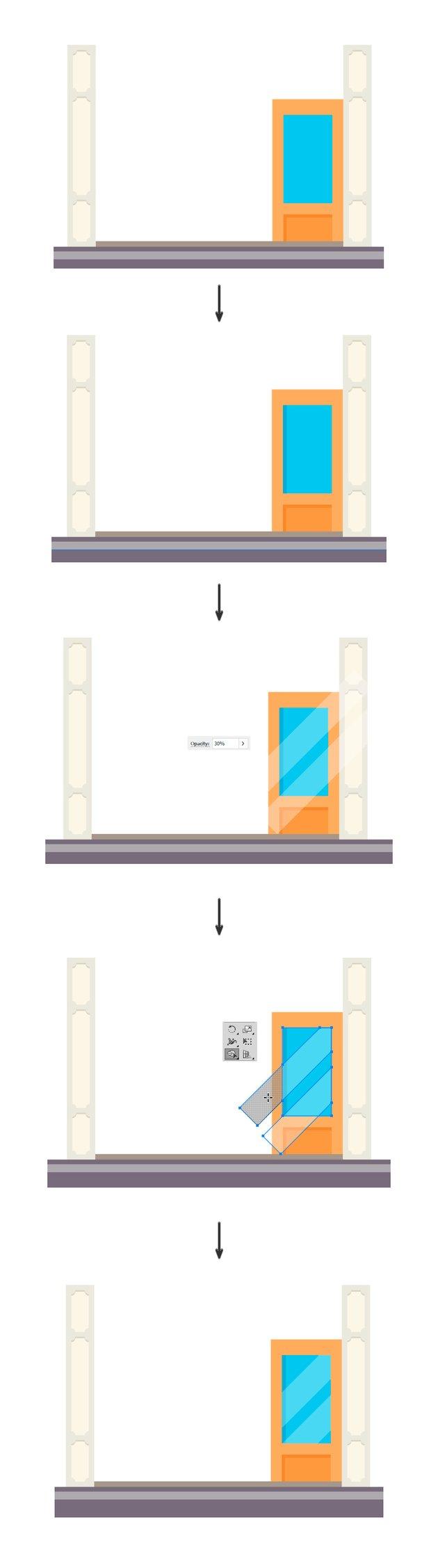 Adding details in the window of the door
