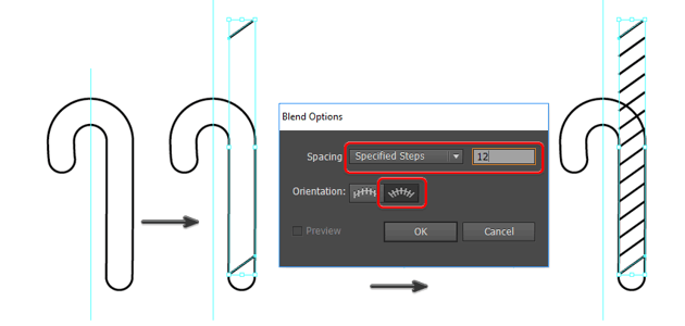 use the blend tool to make candy cane stripes