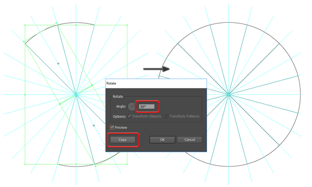 rotate the symbols into place to fill the full circle