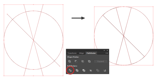 create the symbol shapes using the pathfinder panel