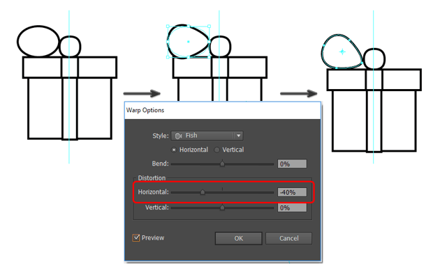 create the present bow using the warp tool