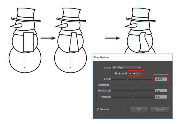 create the snowmans scarf tails using warp
