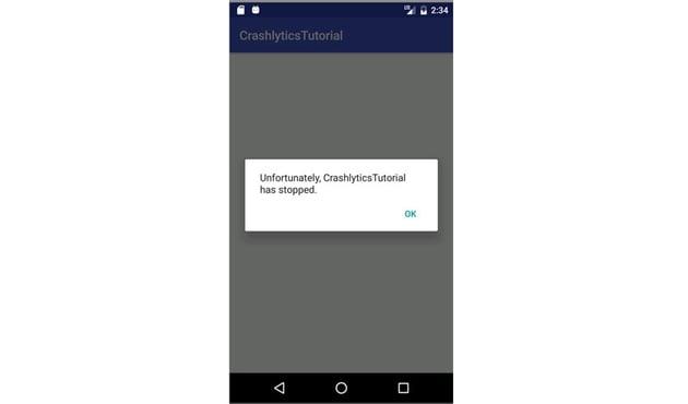 app crashing in emulator