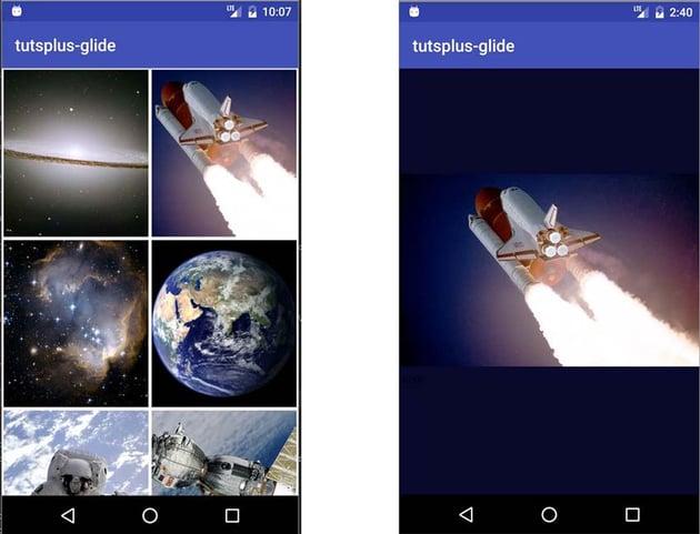 Emulator running the application screenshots