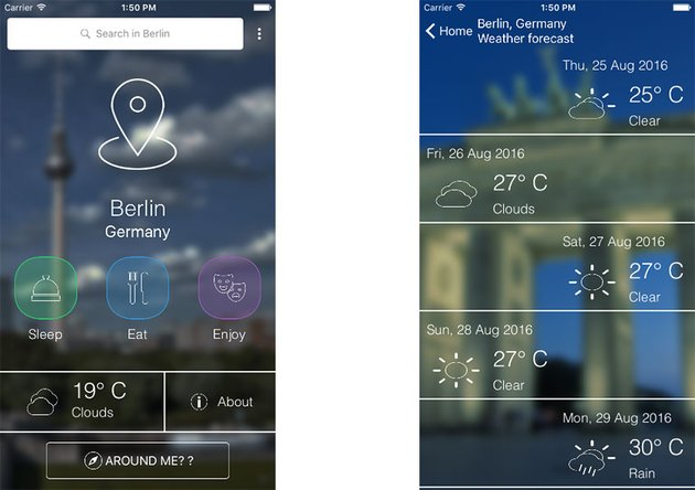 iOS City Guide app template screenshots