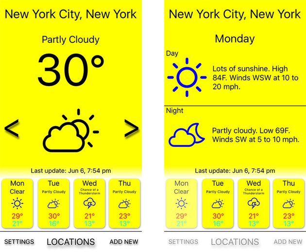 Simple Weather V app template screenshots