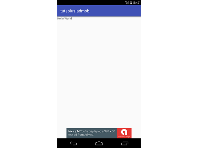 App showing banner ad