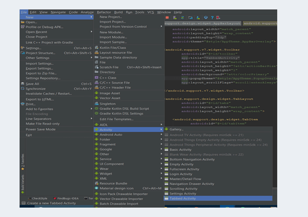 Navigation to tabbed activity button in Android Studio