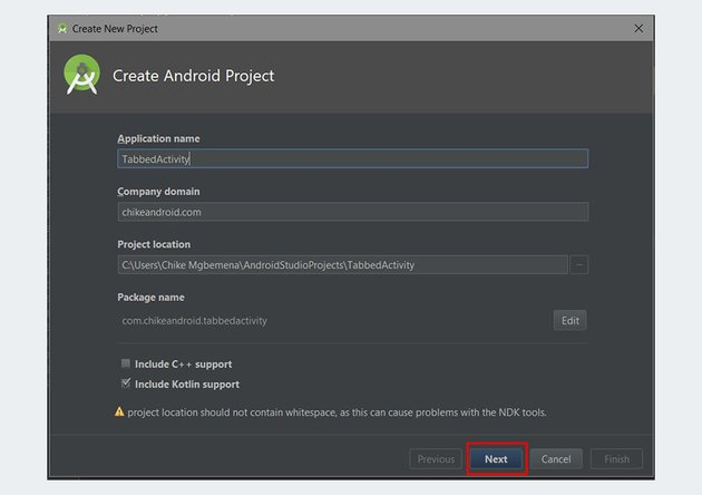 Bottom Navigation Bar Tutorial Create Android Project dialog
