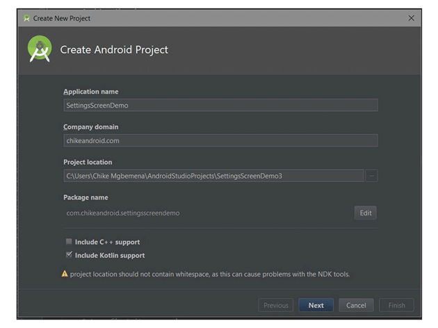 Android Studios Create Android Project dialog