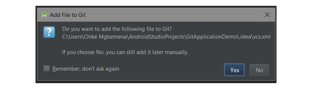 Add File to Git dialog