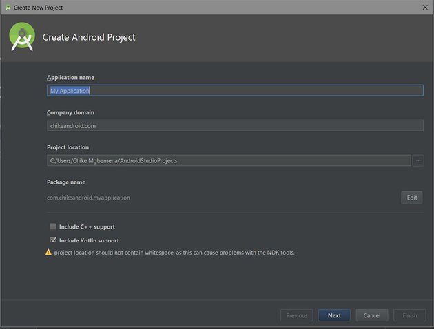 Android Studio create project screen
