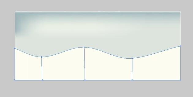 Shape the rectangle to create a wavy object