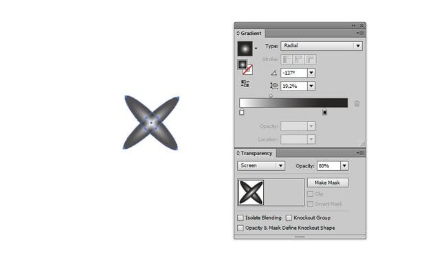 cross star shape white to black gradient screen 80 opacity