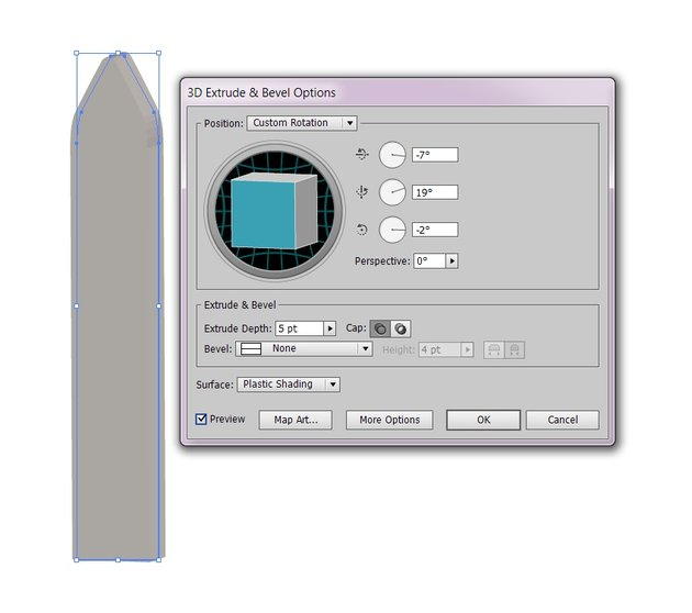 extrude and bevel options
