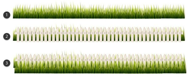 add the grass to the fence