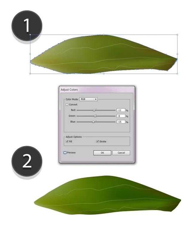 adjust the leaf colors