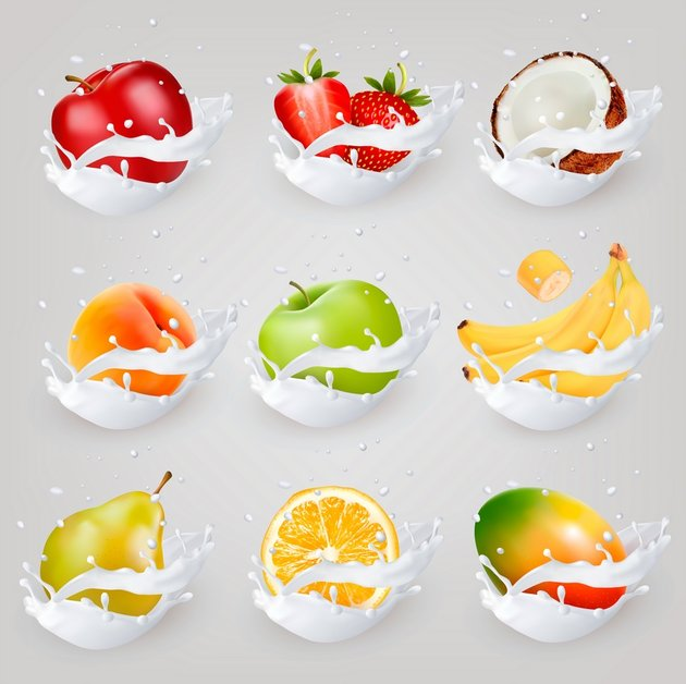 Big Collection Of Fruit And Berries In Milk Splashes