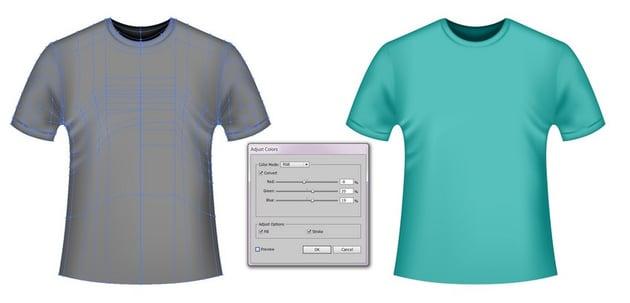 colorful vector t-shirt mockups