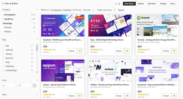 WordPress Technology Themes on ThemeForest