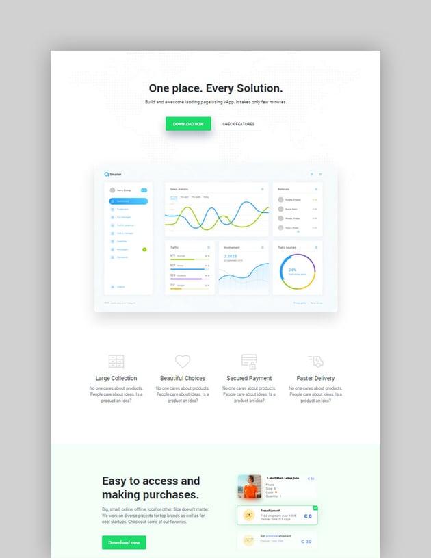 vApp WordPress App Landing Page