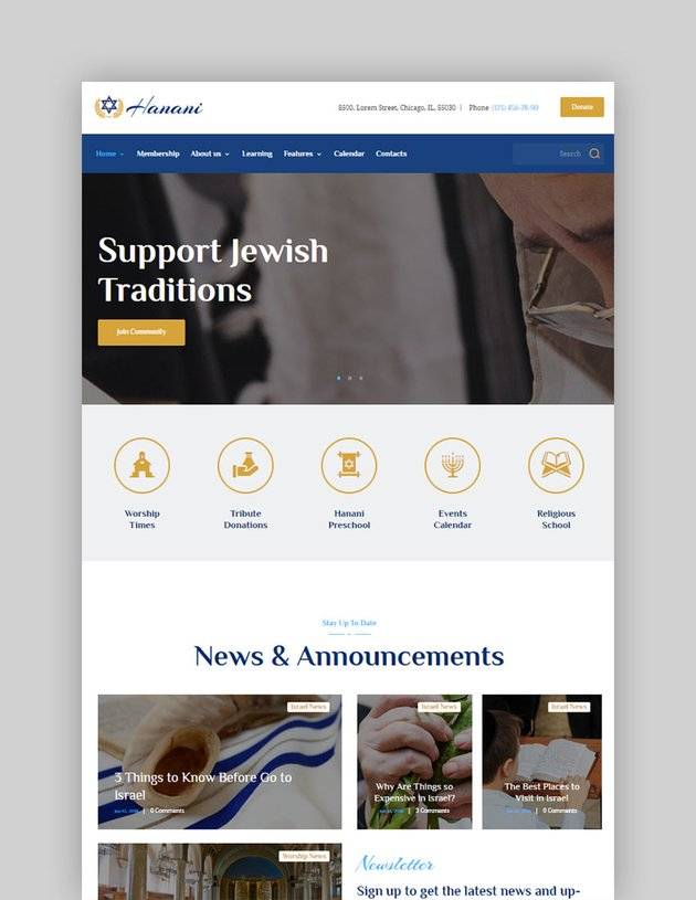 Hanani Jewish Community  Synagogue WordPress Theme  RTL