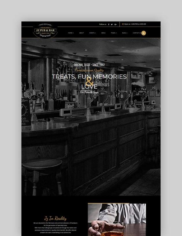 Jz Pub  Bar WordPress Theme