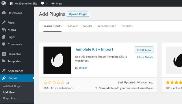 WordPress Add Plugins Screen - Template Kit Editor