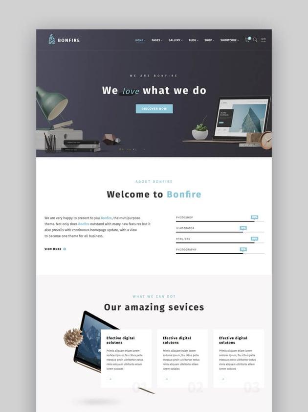 Bonfire - Creativo tema de WordPress para sitio web de empresa