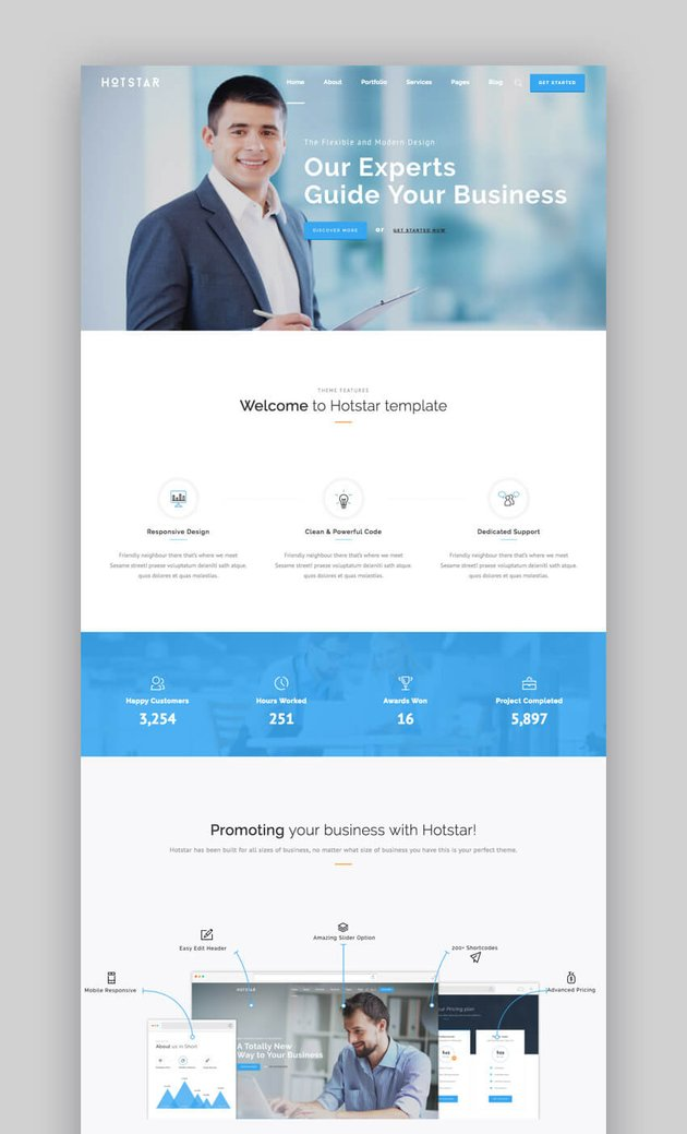 Hotstar - Plantillas de WordPress profesionales y versátiles para una pequeña empresa