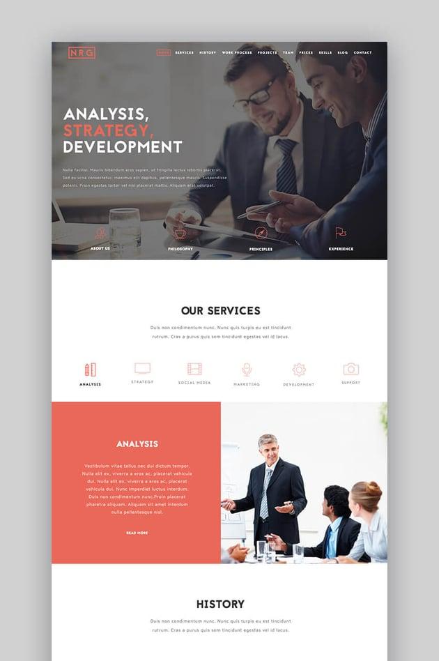 The Business - Potente tema de WordPress estilo one-page para el sitio web de una empresa Small Businesses