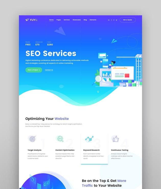 Yuyu - Tema de WordPress para agencia digital y SEO