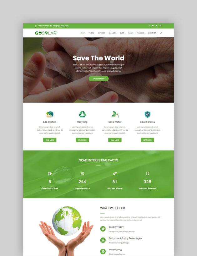 GoSolar - Eco Environmental  Nature WordPress Theme