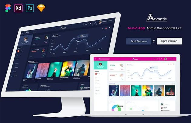 Atvantic - Music App Admin Dashboard UI Kit