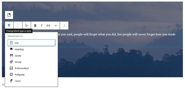 WordPress Gutenberg Change block type or style settings