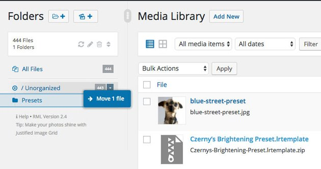 Drag and drop media library
