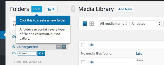 New folder media library
