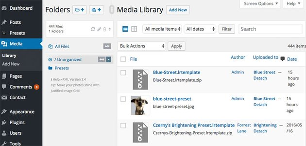 WP Real Media Library starting point