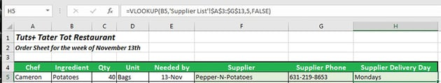 Final supplier delivery day lookup formula applied