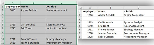 Remove Blank Rows Excel