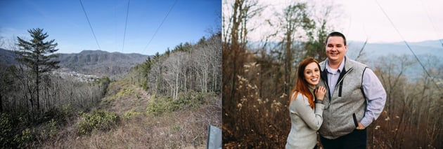 Forested area at the top of a hill on left and on right a couple photographed in that forested area